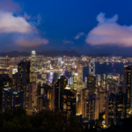 Photo: Hong Kong high rises at night.