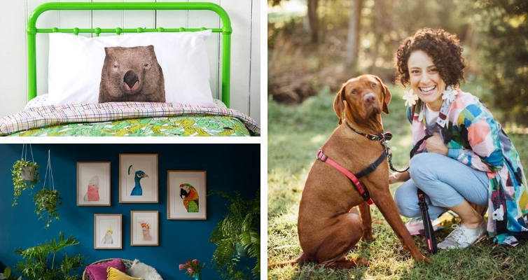 Photo: Dee, her dog, and animal prints on pillowcase and hanging in photo frames.