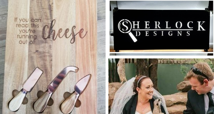 Photo: Cheese board with knives, Sherlock Designs metal sign, Mel and Ben in wedding outfits.