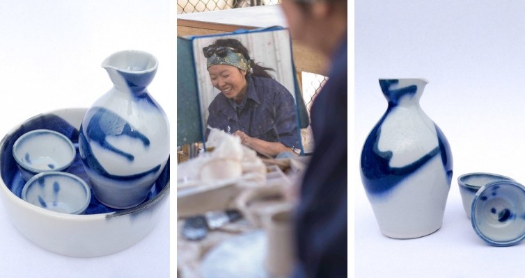 Photo: Tian, sake tray, 2 cups, and jug.